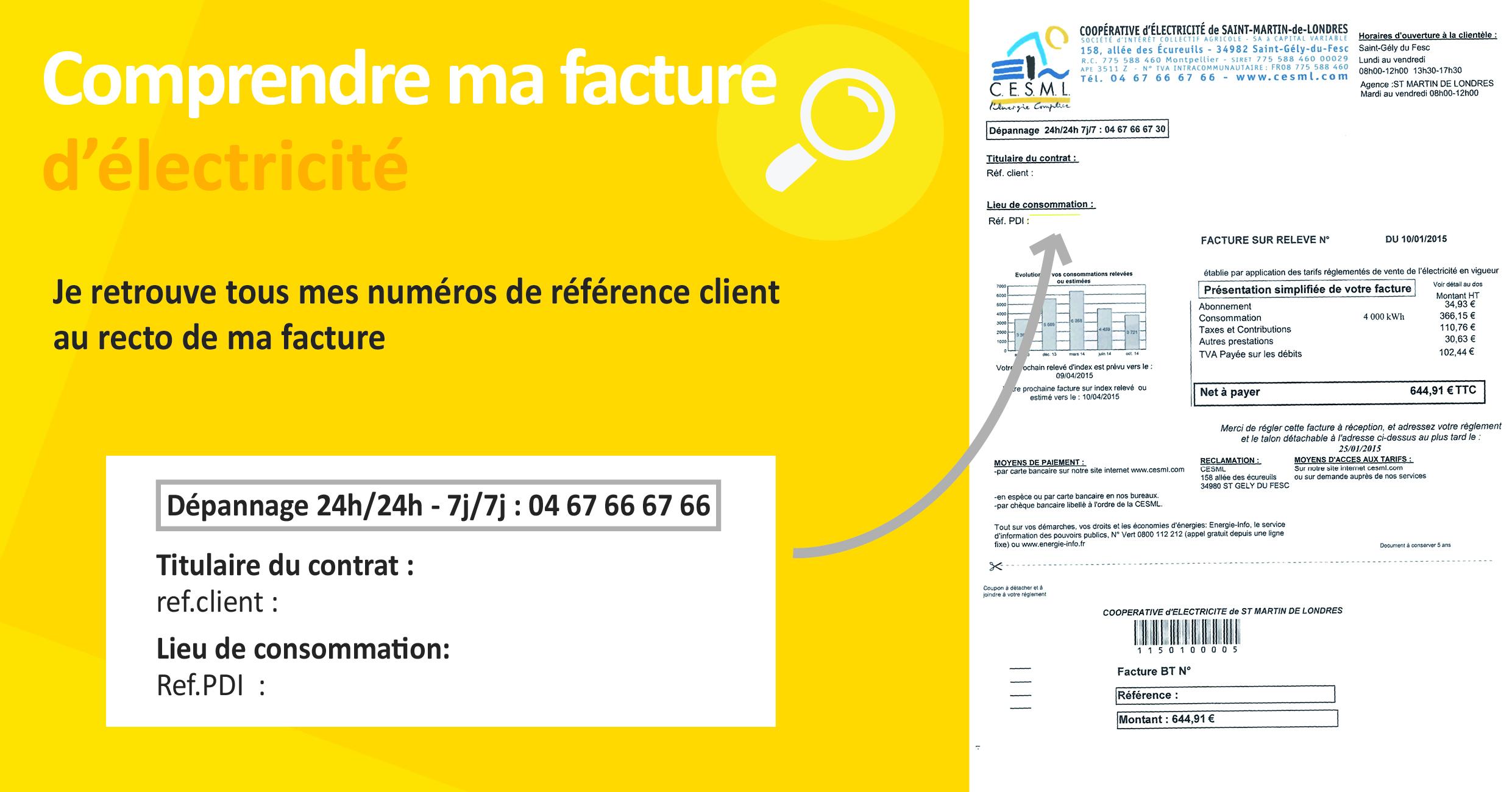 comprendre ma facture d'électricité CESML référence client